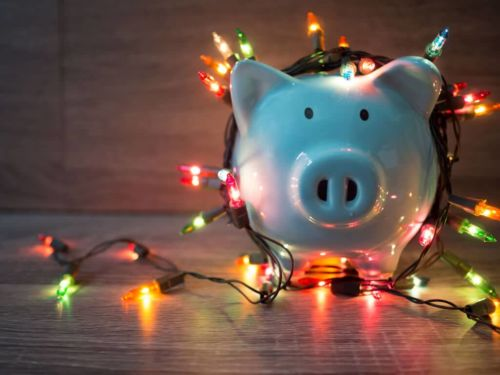 blue piggy bank wrapped in christmas lights