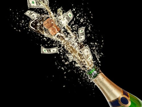 champagne bottle exploding with money